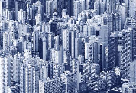 Photo pour Aerial view of downtown district of Hong Kong city - image libre de droit