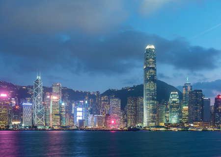 Photo for Victoria harbor of Hong Kong city at dusk - Royalty Free Image