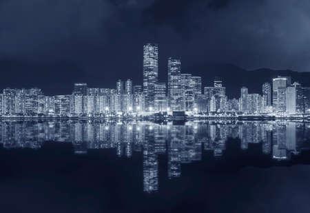Photo pour Panorama of downtown of Hong Kong city at night - image libre de droit