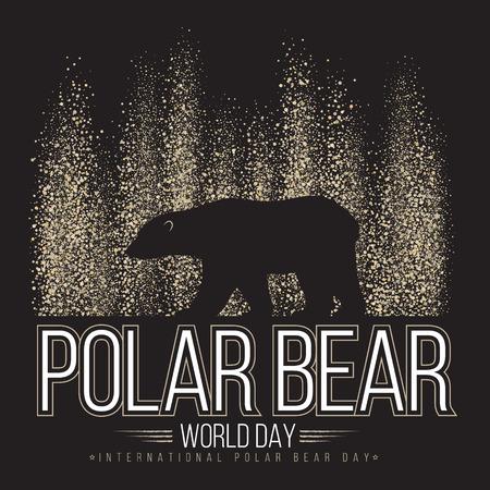 Ilustración de Polar bear on the background of the northern lights. International day of polar bear. Vector illustration - Imagen libre de derechos