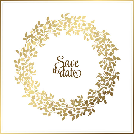 Illustration pour Gold leaf Rope frame on a white background with a place for your text. Circle natural wreath for invitation cards, save the date, wedding card design. - image libre de droit