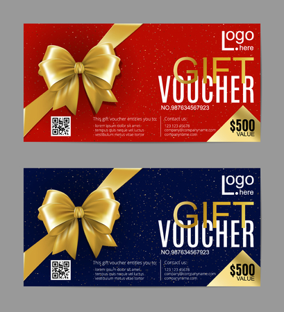 Gift card layout template with golden bow ribbon in corners. Shopping certificate, glittering premium vip design. Vector illustration. Black and white set.