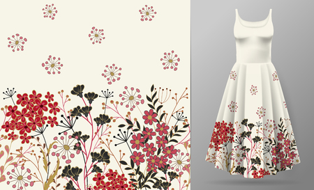 Ilustración de Cute pattern in small simple flowers. Seamless background and seamless border. An example of the pattern of the dress mock up. Vector illustration. Red black on white. - Imagen libre de derechos