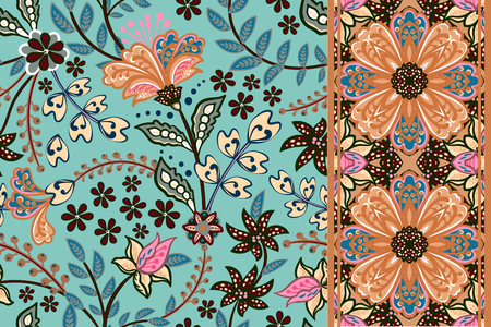 Illustration pour Set of seamless floral pattern and border for design. Hand draw vector Illustration. Seamless background with flowers. - image libre de droit