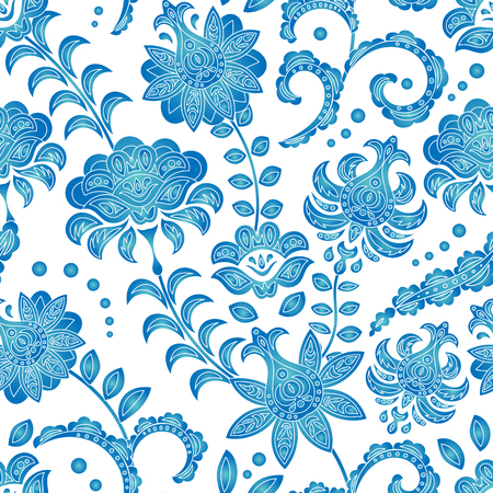Illustration pour Seamless pattern of blue flowers on a white background, an ornament in the Dutch style, Delft, Gzhel, Japanese porcelain, background for different designs: dishes, fabrics, etc. Vector - image libre de droit