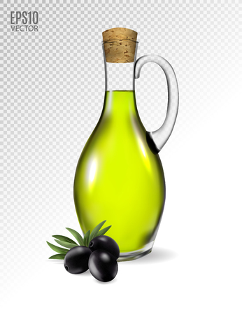 Illustration pour A jar with olive oil and some black olives isolated over a transparent background. Photo-realistic vector, 3d - image libre de droit