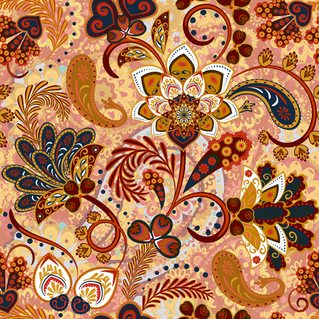 Illustration pour Paisley seamless pattern with flowers in indian style. Floral vector background. Brown - image libre de droit