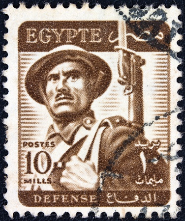 EGYPT - CIRCA 1953  A stamp printed in Egypt shows a soldier, circa 1953