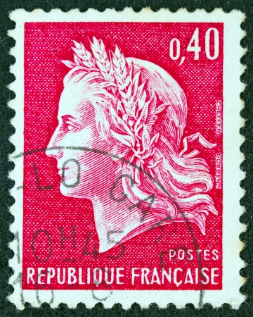 FRANCE - CIRCA 1969: A stamp printed in France shows Marianne, type Cheffer, circa 1969.