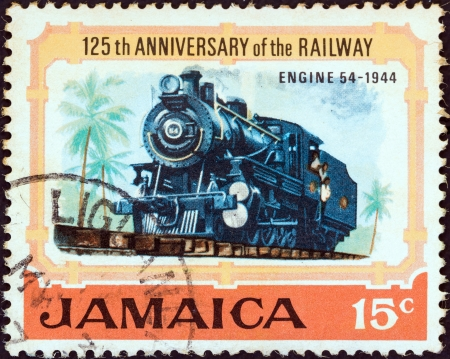 JAMAICA - CIRCA 1970: A stamp printed in Jamaica from the 125th anniversary of Jamaican Railways issue shows Steam locomotive No. 54 (1944), circa 1970.