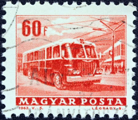 HUNGARY - CIRCA 1963: A stamp printed in Hungary from the Transport and Communications issue shows a trolley bus, circa 1963.