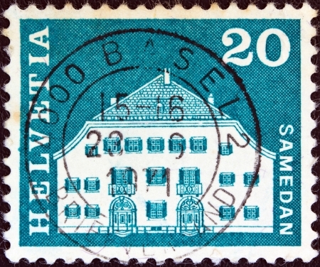 SWITZERLAND - CIRCA 1964: A stamp printed in Switzerland from the Architectural Monuments (2nd series) issue shows Planta House, Samedan, circa 1964.