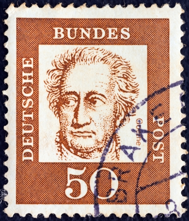 GERMANY - CIRCA 1961: A stamp printed in Germany from the Famous Germans issue shows German writer Johann Wolfgang von Goethe, circa 1961.