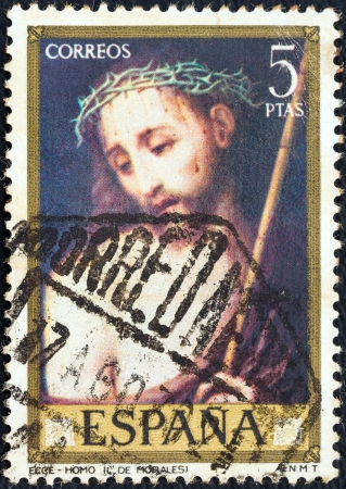 SPAIN - CIRCA 1970: A stamp printed in Spain from the Stamp day and Luis de Morales commemoration issue shows Ecce Homo, circa 1970.