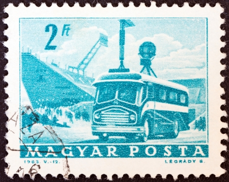 HUNGARY - CIRCA 1963: A stamp printed in Hungary from the Transport and Communications ; issue shows T.V. broadcast coach, circa 1963.