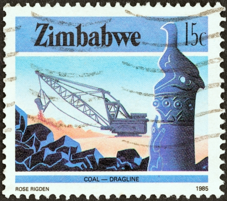 ZIMBABWE - CIRCA 1985: A stamp printed in Zimbabwe from the \National Infrastructure\ issue shows Dragline coal mining, circa 1985.