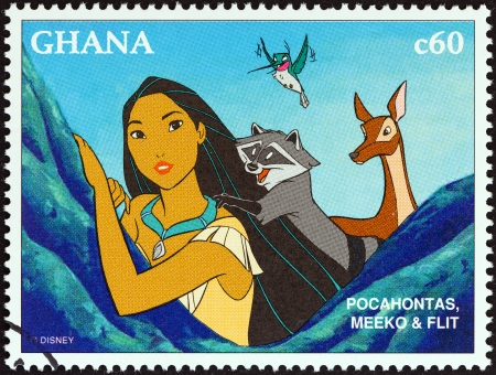 GHANA - CIRCA 1996  A stamp printed in Ghana from the  1996 National Stamp Exhibition, Orlando, USA - Disney Friends - Disney Cartoon Characters   issue shows Pocahontas, Meeko and Flit, circa 1996