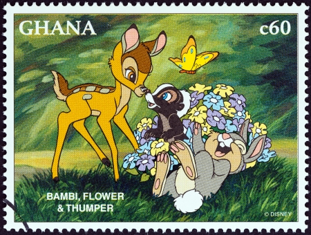 GHANA - CIRCA 1996  A stamp printed in Ghana from the  1996 National Stamp Exhibition, Orlando, USA - Disney Friends - Disney Cartoon Characters   issue shows Bambi, Flower and Thumper, circa 1996