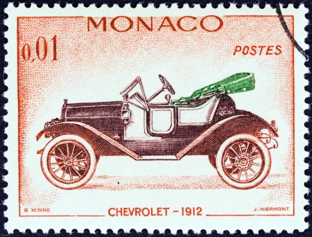 MONACO - CIRCA 1961  A stamp printed in Monaco from the  Veteran Cars   issue shows Chevrolet, 1912, circa 1961