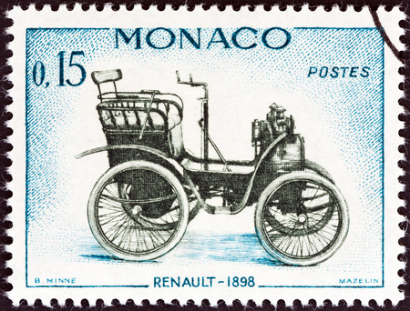 MONACO - CIRCA 1961  A stamp printed in Monaco from the  Veteran Cars   issue shows Renault, 1898, circa 1961