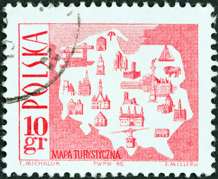 POLAND - CIRCA 1966  A stamp printed in Poland shows Tourist Map, circa 1966
