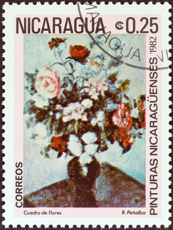 NICARAGUA - CIRCA 1982  A stamp printed in Nicaragua from the  Paintings   issue shows Vase of Flowers  Rodrigo Penalba , circa 1982