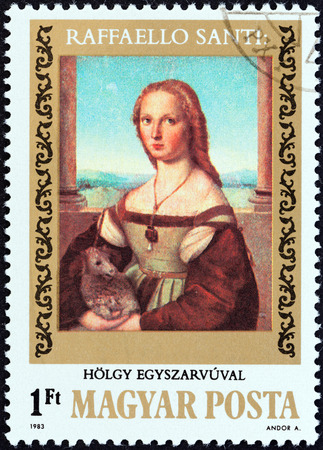 HUNGARY - CIRCA 1983  A stamp printed in Hungary from the  500th birth anniversary of Raphael   issue shows Lady with Unicorn, circa 1983