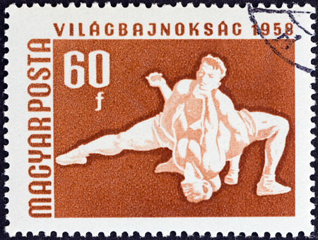 HUNGARY - CIRCA 1958  A stamp printed in Hungary from the  European Table Tennis, Swimming and World Wrestling Championships, Budapest  issue shows wrestlers , circa 1958