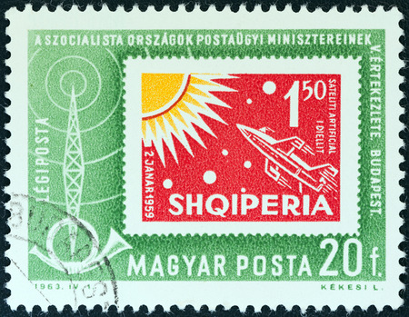 HUNGARY - CIRCA 1963  A stamp printed in Hungary from the  Organization of Socialist Countries Postal Administrations Conference, Budapest  issue shows an Albanian stamp of 1962, circa 1963