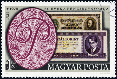 HUNGARY - CIRCA 1976  A stamp printed in Hungary issued for the 50th Anniversary of the Hungarian Bank Note Corporation shows banknotes of 1925 and 1975, circa 1976