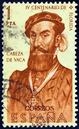 SPAIN - CIRCA 1960: A stamp printed in Spain from the \\\400th anniversary of discovery and colonization of Florida \\\ issue shows explorer Cabeza de Vaca, circa 1960.