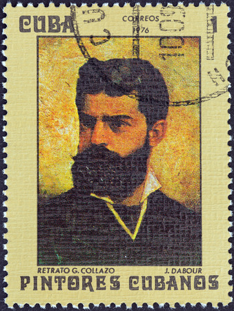CUBA - CIRCA 1976: A stamp printed in Cuba from the \\\Cuban Paintings\\\ issue shows portrait G. Collazo (Jean Dabour), circa 1976.