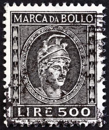 ITALY  CIRCA 1959: A revenue stamp printed in Italy shows sculpture circa 1959.