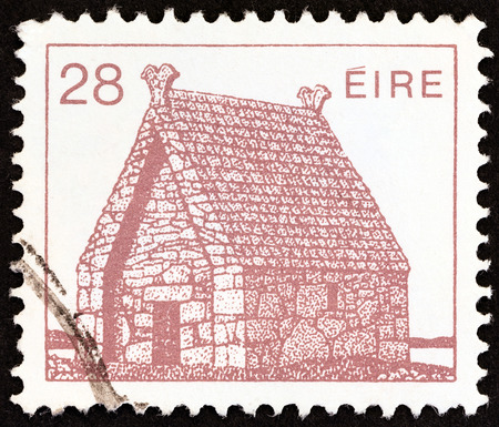 IRELAND - CIRCA 1983: A stamp printed in Ireland from the Irish Architecture issue shows St. MacDara's Church, circa 1983.