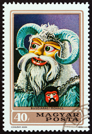 HUNGARY - CIRCA 1973: A stamp printed in Hungary from the Busojaras Ceremony, Mohacs. Carnival Masks issue shows Carnival Mask, circa 1973.