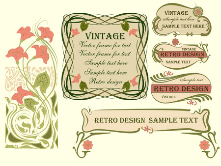 Illustration pour Set of vector frames and design elements in art Nouveau style. - image libre de droit