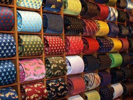 Ties with drawn gondolas in Venetian shop