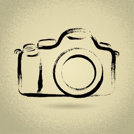 DSLR Camera Illustration with Brushwork