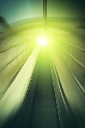 Perspective blurred motion handrail elevator stairway