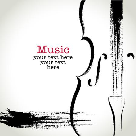 Illustration pour Grunge drawing cello with brushwork - image libre de droit