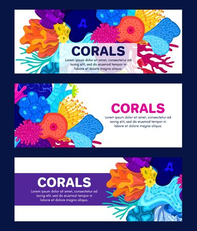 Illustration pour Vector composition of corals. Background with colorful sea or ocean life. Template for cover, invitation, banner, brochure, flyer, label, header. Advertising of water park, aquarium, marine exhibition - image libre de droit