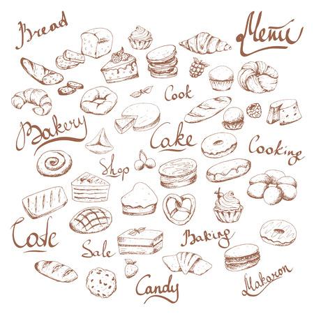 Illustration pour Various cakes & bakery doodle vector set. Lettering. Bakery cafe. Brown on white - image libre de droit