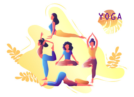 Illustration for Yoga workout girl set. Woman doing yoga exercises. Yoga emblem for poster, banner, flyer or card design. Warming up, stretching. Vector illustration. - Royalty Free Image