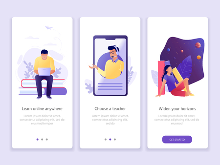 Illustration pour Online education, School, Studying, Courses. Onboarding screens user interface kit. M commerce. Modern user interface UX, UI screen template for mobile smart phone or web site. Vector Illustration. - image libre de droit