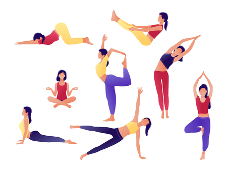 Illustration for Yoga workout girl set. Women doing yoga exercises. Can be used for poster, banner, flyer, card, website. Warming up, stretching. Vector illustration. Red yellow violet - Royalty Free Image