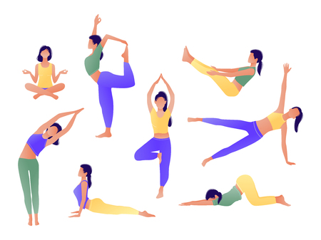 Ilustración de Yoga workout girl set. Women doing yoga exercises. Can be used for poster, banner, flyer, card, website. Warming up, stretching. Vector illustration. Green yellow violet - Imagen libre de derechos