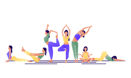 Illustration for Yoga workout girl set. Women doing yoga exercises. Can be used for poster, banner, flyer, card, website. Warming up, stretching. Vector illustration. Green yellow violet - Royalty Free Image