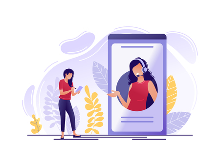 Illustration pour Online technical support. Woman near big phone with female hotline operator. Online assistant, virtual help service, 24-7, customer and operator. Flat concept vector illustration - image libre de droit