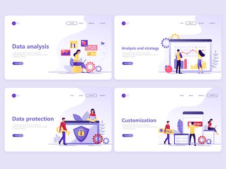 Ilustración de Set of Landing page templates. Data analysis, strategy, protection, customization. Flat vector illustration concepts for a web page or website. - Imagen libre de derechos