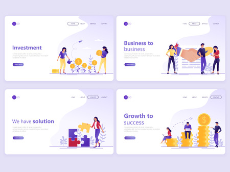 Illustration for Set of Landing page templates. Business investment, partnership, financial consulting, growth to success. Flat vector illustration concepts for a web page or website. - Royalty Free Image